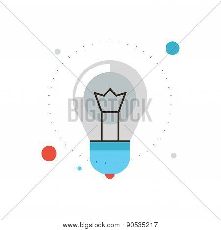 Innovation Success Idea Flat Line Icon Concept