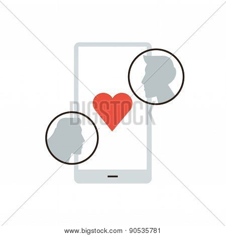 Mobile Dating Application Flat Line Icon Concept