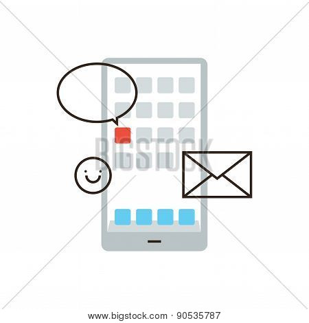 Mobile Phone Communication Flat Line Icon Concept