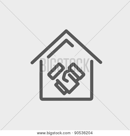 Successful real estate transaction icon thin line for web and mobile, modern minimalistic flat design. Vector dark grey icon on light grey background.