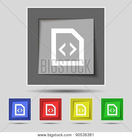 Programming Code Icon Sign On The Original Five Colored Buttons. Vector