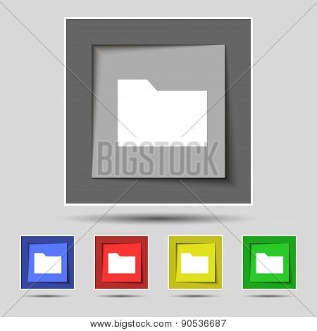 Document Folder Icon Sign On The Original Five Colored Buttons. Vector