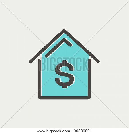House mortgage icon thin line for web and mobile, modern minimalistic flat design. Vector icon with dark grey outline and offset colour on light grey background.