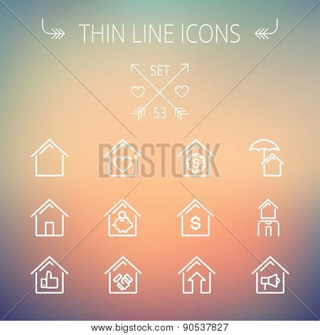 Real estate thin line icon set for web and mobile. Set includes- housing loan, mortgage, contoured house, saving, house insurance, broker, house alarm icons. Modern minimalistic flat design. Vector