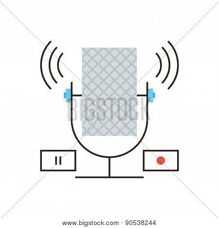 Studio Microphone Flat Line Icon Concept