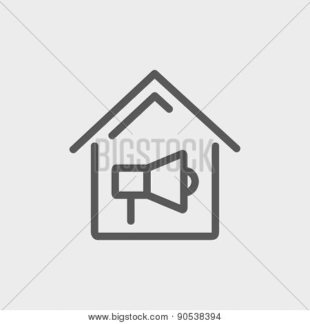 House fire alarm icon thin line for web and mobile, modern minimalistic flat design. Vector dark grey icon on light grey background.