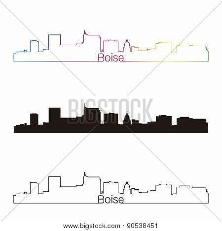 Boise Skyline Linear Style With Rainbow
