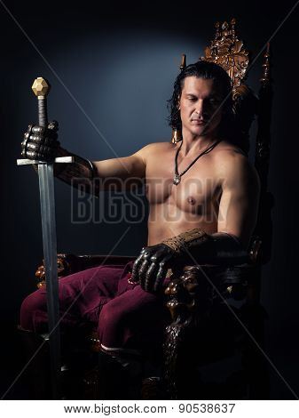 Medieval Prince On The Throne