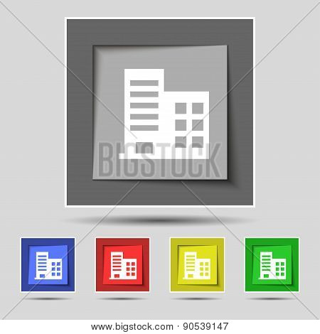 High-rise Commercial Buildings And Residential Apartments Icon Sign On The Original Five Colored But