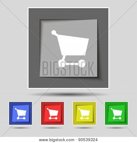Shopping Basket Icon Sign On The Original Five Colored Buttons. Vector