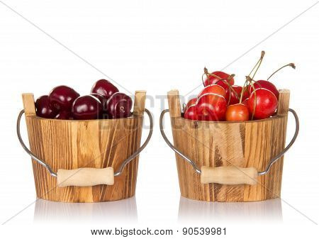 Bucket with red cherries
