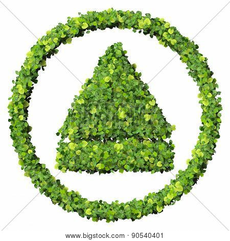 Media control eject eco icon made from green leaves