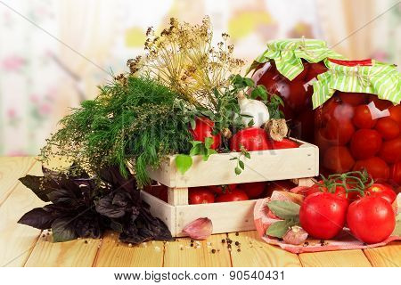 Tomatoes and dill in crate
