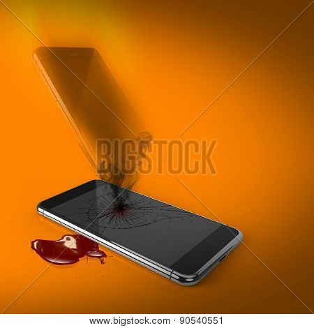 Death Of Technology: Dead Broken Smartphone With Soul Passing