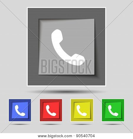Phone, Support, Call Center Icon Sign On The Original Five Colored Buttons. Vector