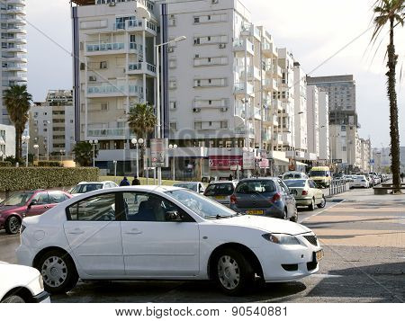 Day traffic on the streets in Bat-Yam, Israel