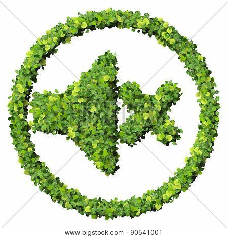 Media control volume mute icon, made from green leaves