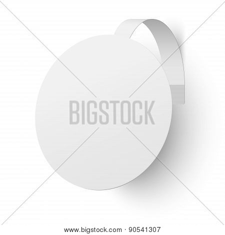 Close Up View Of White Advertising Wobbler Isolated