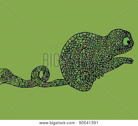 Abstract Chameleon Vector Illustration African Amphibian Animal