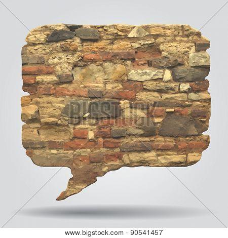 Old stone wall speak bubble. Vector illustration