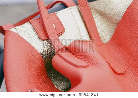 Orange Leather Bag With Gold Inner Side