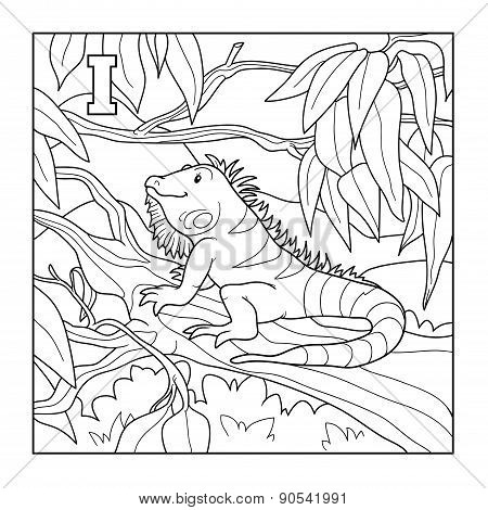 Coloring Book (iguana), Colorless Illustration (letter I)