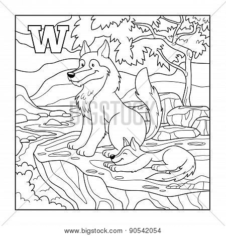 Coloring Book (wolf), Colorless Illustration (letter W)