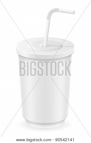 White Cup Of Soda Water Vector Illustration