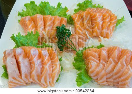 Sliced Raw Salmon, Salmon Sashimi
