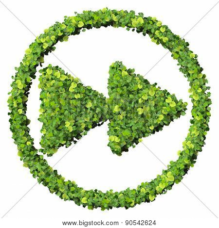 Media control backward / forward icon, made from green leaves.