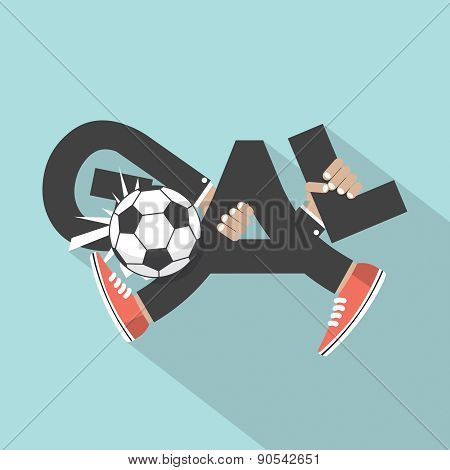 Football Goal With Hands And Legs Typography Design.