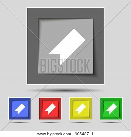 Bookmark Icon Sign On The Original Five Colored Buttons. Vector