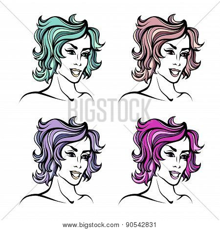 Vector stylized portrait set of cartoon pretty fashion girls with short curly hair isolated on white