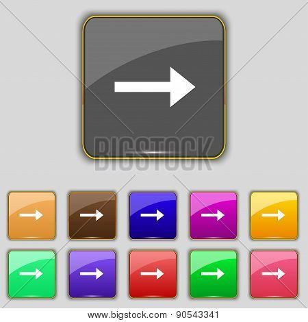 Arrow Right, Next Icon Sign. Set With Eleven Colored Buttons For Your Site. Vector