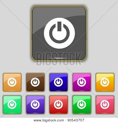 Power,  Switch On, Turn On  Icon Sign. Set With Eleven Colored Buttons For Your Site. Vector