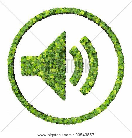 Media control volume adjust icon, made from green leaves