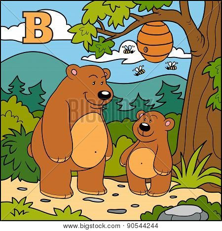 Letter B: Bears, Colorful Alphabet