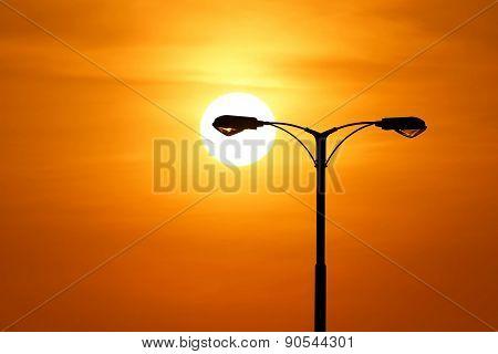 Silhouette Of Streetlight With Beautiful Sunset