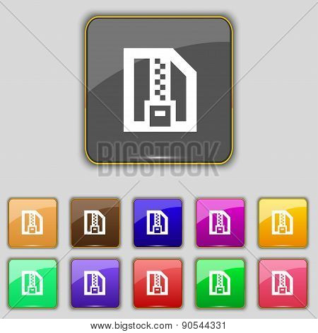 Archive File, Download Compressed, Zip Zipped Icon Sign. Set With Eleven Colored Buttons For Your Si