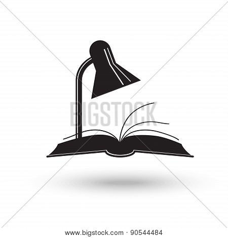 Reading Lamp And Book. Library And Learning Symbol. Vector Illustration.