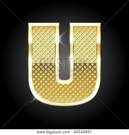 Vector metal gold letter U