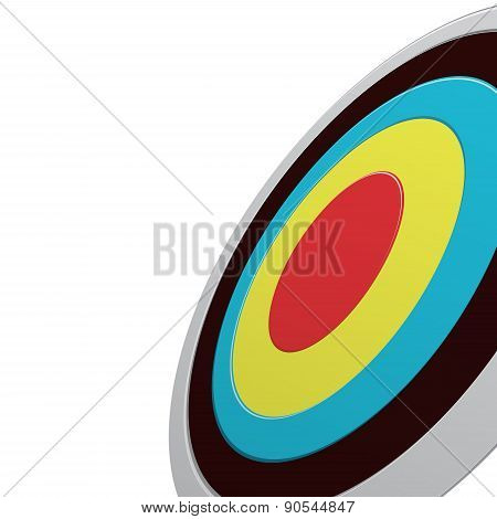 Round Colour Darts Target Aim Isolated On White. View From One Side.