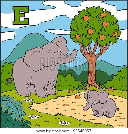 Color Alphabet For Children: Letter E (elephant)