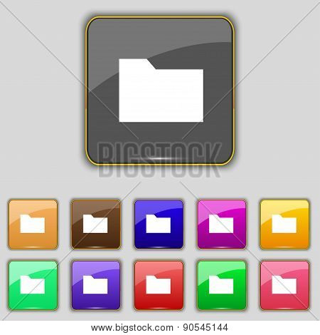 Document Folder Icon Sign. Set With Eleven Colored Buttons For Your Site. Vector