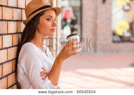 Relaxing With Cup Of Fresh Coffee.