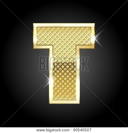 Vector metal gold letter T