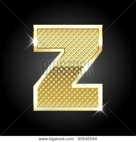 Vector metal gold letter Z