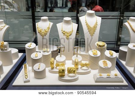 HONG KONG - MAY 06, 2015: interior of jewellery store in shopping mall. Hong Kong shopping malls are some of the biggest and most impressive in the world