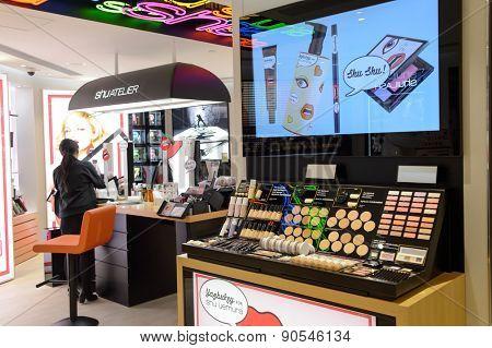 HONG KONG - MAY 06, 2015: cosmetics boutique interior. Hong Kong's cosmetics market is highly competitive and having no sales taxes