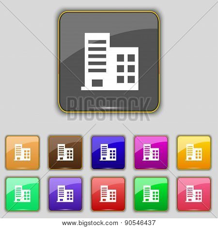 High-rise Commercial Buildings And Residential Apartments Icon Sign. Set With Eleven Colored Buttons